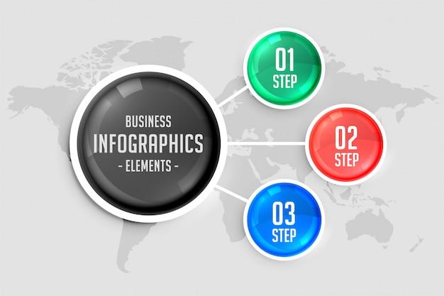 Infographic schablone der farbe mit drei schritten