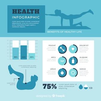 Infographic schablone der flachen designgesundheit