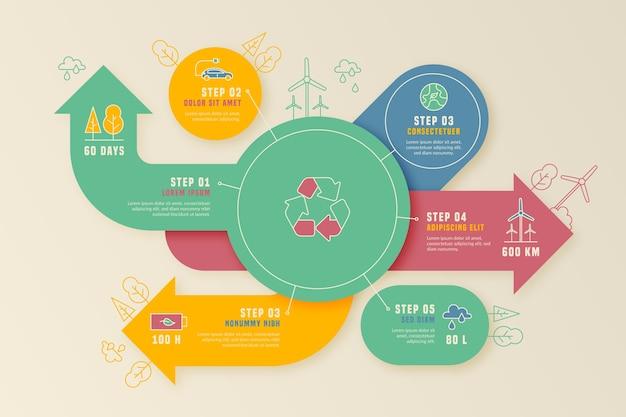 Infographic schablone der flachen designökologie mit retro- farben