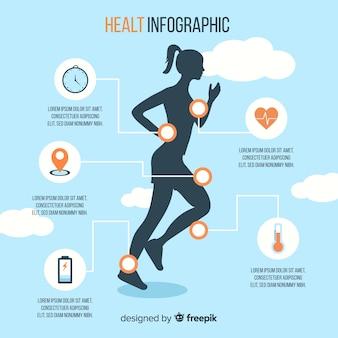 Infographic schablone der gesundheit mit einem frauenschattenbild