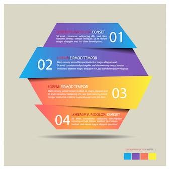 Infographic schablone der hexagonfahne