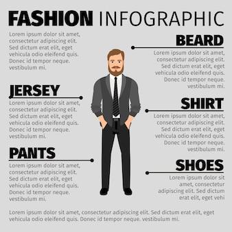 Infographic schablone der mode mit hippie-mann