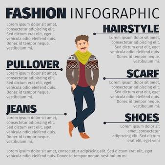 Infographic schablone der mode mit jungem künstlermann