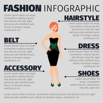 Infographic schablone der mode mit rothaarigefrau