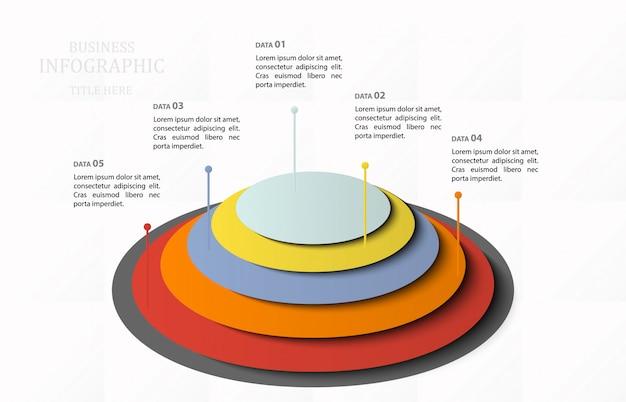 Infographic schablone der modernen pyramide mit fünf elementen. 5 schritt. vektor-illustration