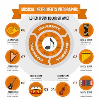 Infographic schablone der musikinstrumente, flacher stil