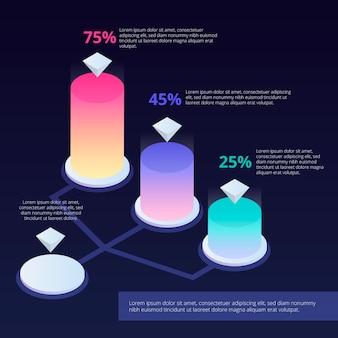 Infographic schablone der stangen 3d