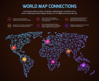 Infographic Schablone der Weltpolygonalen Kartenkommunikation