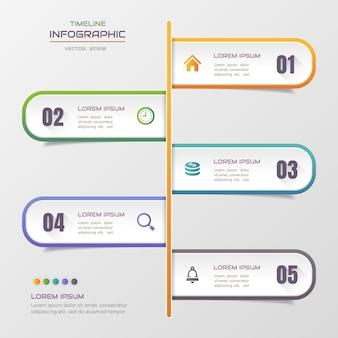Infographic schablone der zeitachse mit ikonen