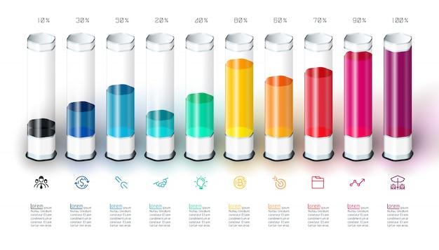 Infographic schablone des balkendiagramms mit buntem glasrohr 3d.