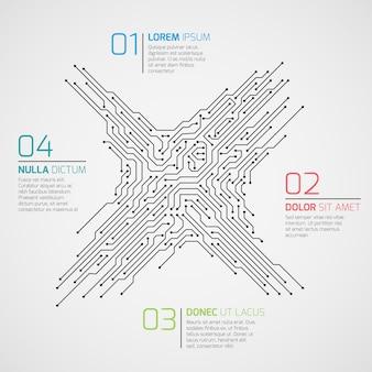 Infographic schablone des computertechnologie-vektors mit leiterplatte und wahlen. elektronischer high-tech