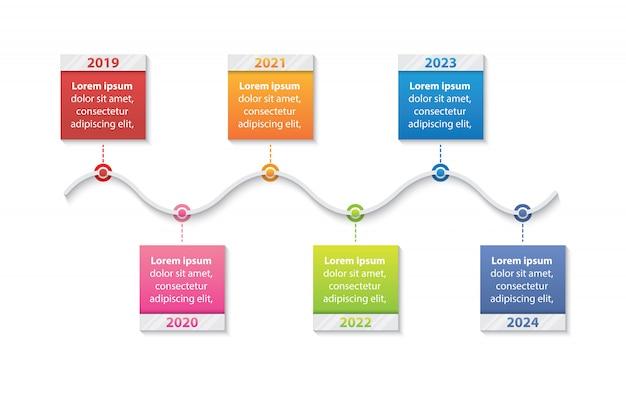 Infographic schablone des darstellungsgeschäfts mit dem vektor mit 6 zeitachsen