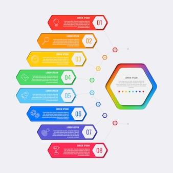 Infographic schablone des einfachen entwurfs mit acht schritten mit sechseckigen elementen.