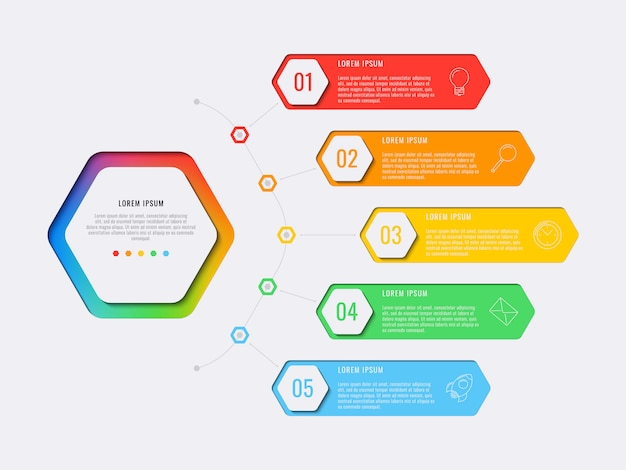 Infographic schablone des einfachen entwurfs mit fünf schritten mit sechseckigen elementen.