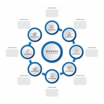 Infographic schablone des einfachen modernen schrittes