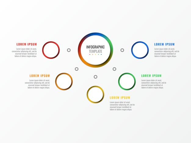 Infographic schablone des entwurfs mit fünf schritten mit runden realistischen elementen 3d.