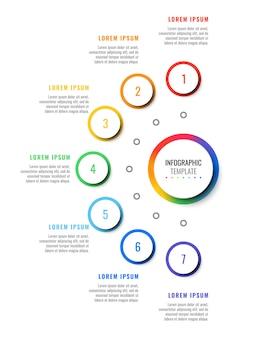 Infographic schablone des entwurfs mit sieben schritten mit runden realistischen elementen 3d. prozessdiagramm
