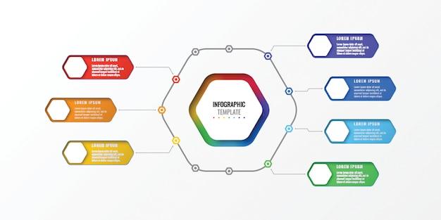 Infographic schablone des entwurfs mit sieben wahlen mit sechseckigen elementen. geschäftsprozessdiagramm