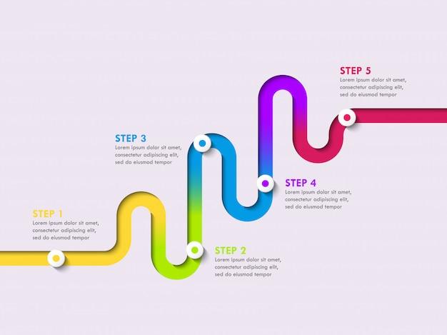 Infographic schablone des fahrbahnstandortes mit einer stufenweisen struktur. stilvolle serpentine in form von linienpfeilen
