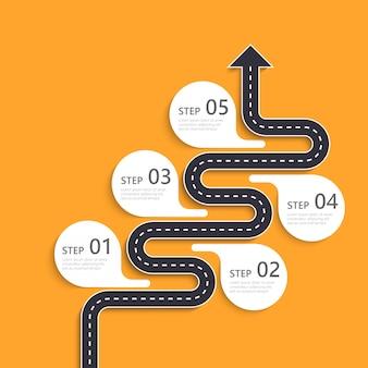 Infographic schablone des fahrbahnstandortes mit einer stufenweisen struktur