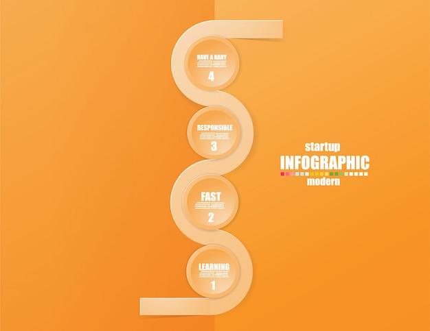 Infographic schablone des geschäfts das konzept die treppenschritte. steigern sie die orange farbe.