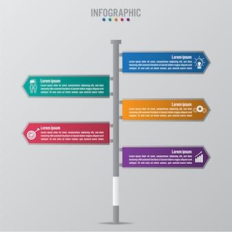 Infographic schablone des geschäfts mit 5 verkehrsschild