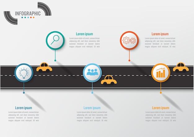 Infographic schablone des geschäfts mit 5 wahlen