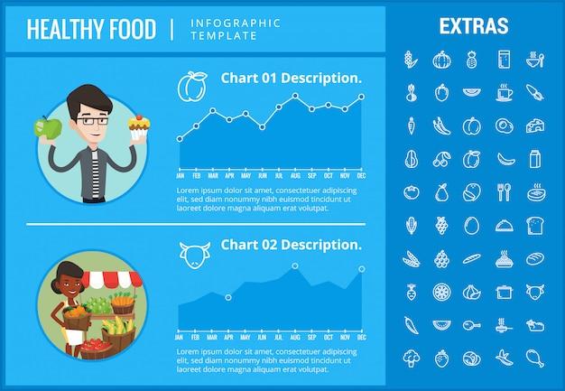 Infographic schablone des gesunden lebensmittels, elemente, ikonen