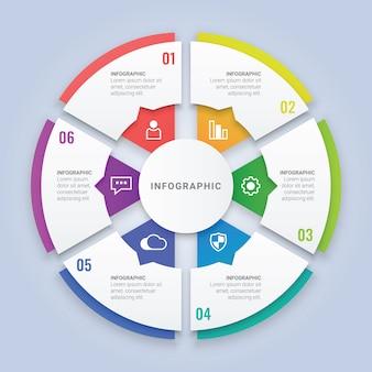 Infographic-schablone des kreis-3d mit sechs wahlen für arbeitsfluss-plan, diagramm, jahresbericht, webdesign