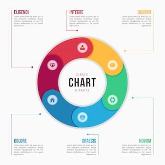 Infographic schablone des kreisdiagramms mit teilen, prozessen, schritten