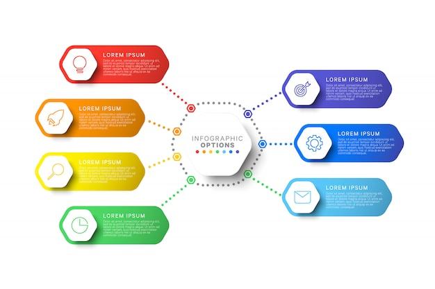 Infographic schablone des layouts mit sieben schritten mit sechseckigen elementen