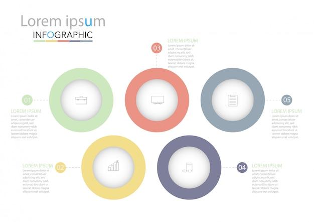 Infographic schablone des minimalen zeitachsenkreises fünf wahlen oder schritte.