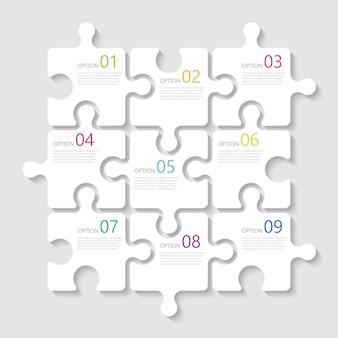 Infographic schablone des modernen abstrakten puzzlespiels 3d mit neun schrittwahlen