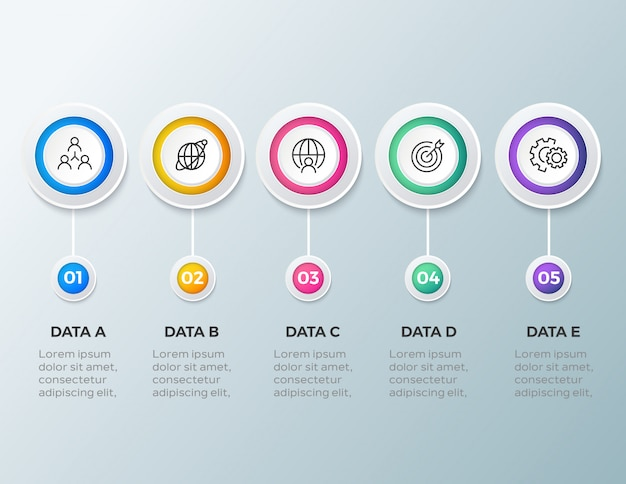 Infographic schablone des modernen geschäfts mit 5 schritten