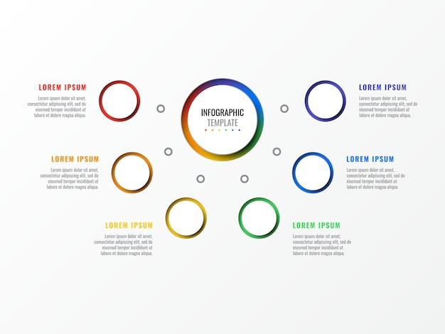 Infographic schablone des plans mit sechs schritten mit runden realistischen elementen 3d. prozessdiagramm für broschüre, banner, geschäftsbericht