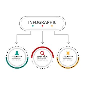 Infographic schablone des präsentationsgeschäfts mit 3 wahlen