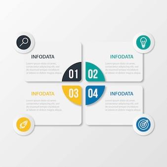 Infographic schablone des präsentationsgeschäfts mit 4 wahlen