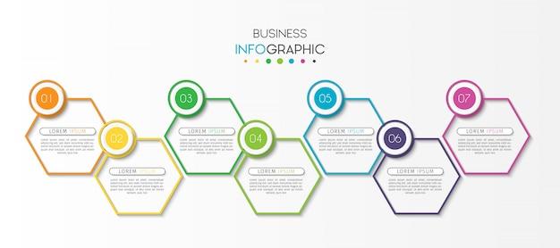 Infographic schablone des präsentationsgeschäfts mit 7 wahlen oder schritten