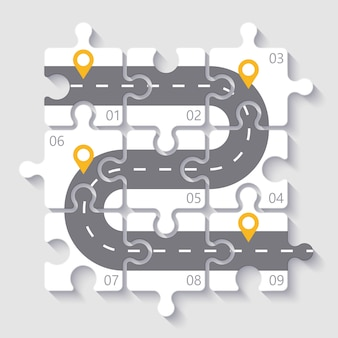 Infographic schablone des puzzlespiels 3d mit straßen- und neun schrittwahlen