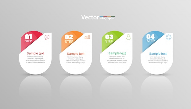 Infographic schablone des vektors mit 4 wahlen