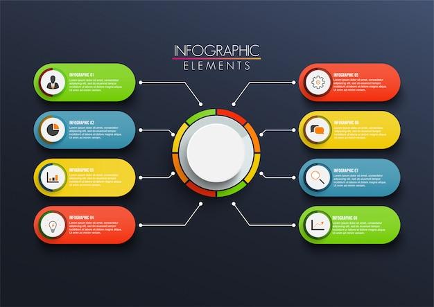 Infographic schablone des vektors mit aufkleber des papiers 3d, integrierte kreise. geschäftskonzept mit 8 optionen
