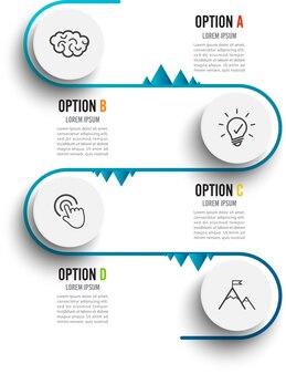 Infographic schablone des vektors mit aufkleber des papiers 3d.
