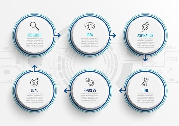 Infographic schablone des vektors mit ikonen und 6 wahlen oder schritten.
