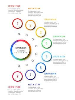 Infographic schablone des vertikalen plans mit acht schritten mit runden realistischen elementen 3d.