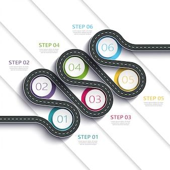 Infographic schablone des weisenstandorts der kurvenreichen straße mit einer gestaffelten struktur