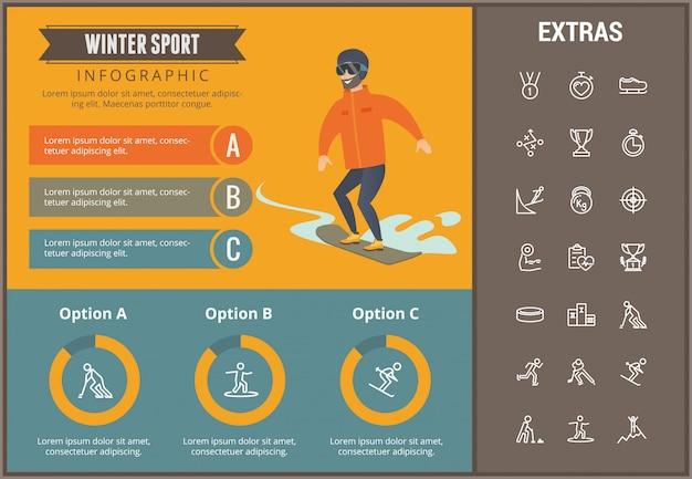 Infographic schablone des wintersports, elemente, ikonen