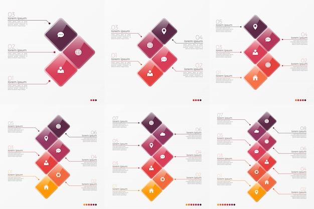 Infographic schablone des zeitachse-diagramms mit 3 und 8 wahlen
