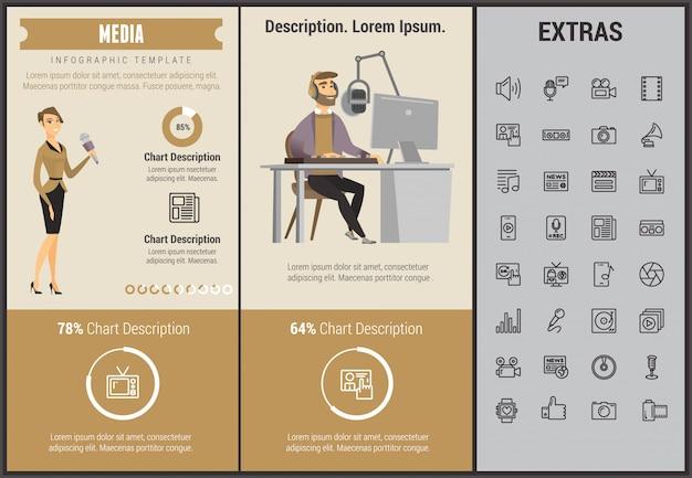 Infographic schablone, elemente und ikonen der medien