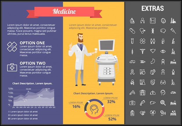 Infographic schablone, elemente und ikonen der medizin