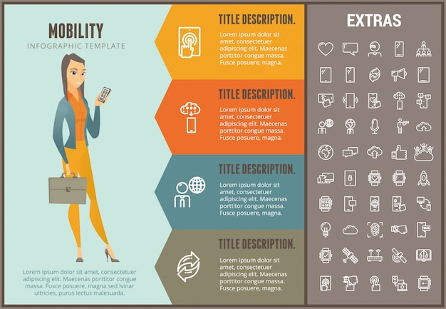 Infographic schablone, elemente und ikonen der mobilität